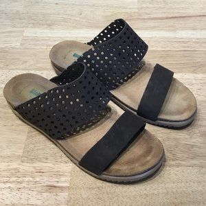 BioNatura Perforated Leather Slip-On Sandals
